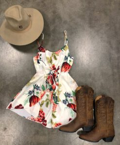 """ Nancy "" Floral Knot Front Romper ( Off White )"