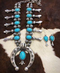""" Austin "" Navajo Squash Blossom Necklace Set ( Turquoise / Silver )"