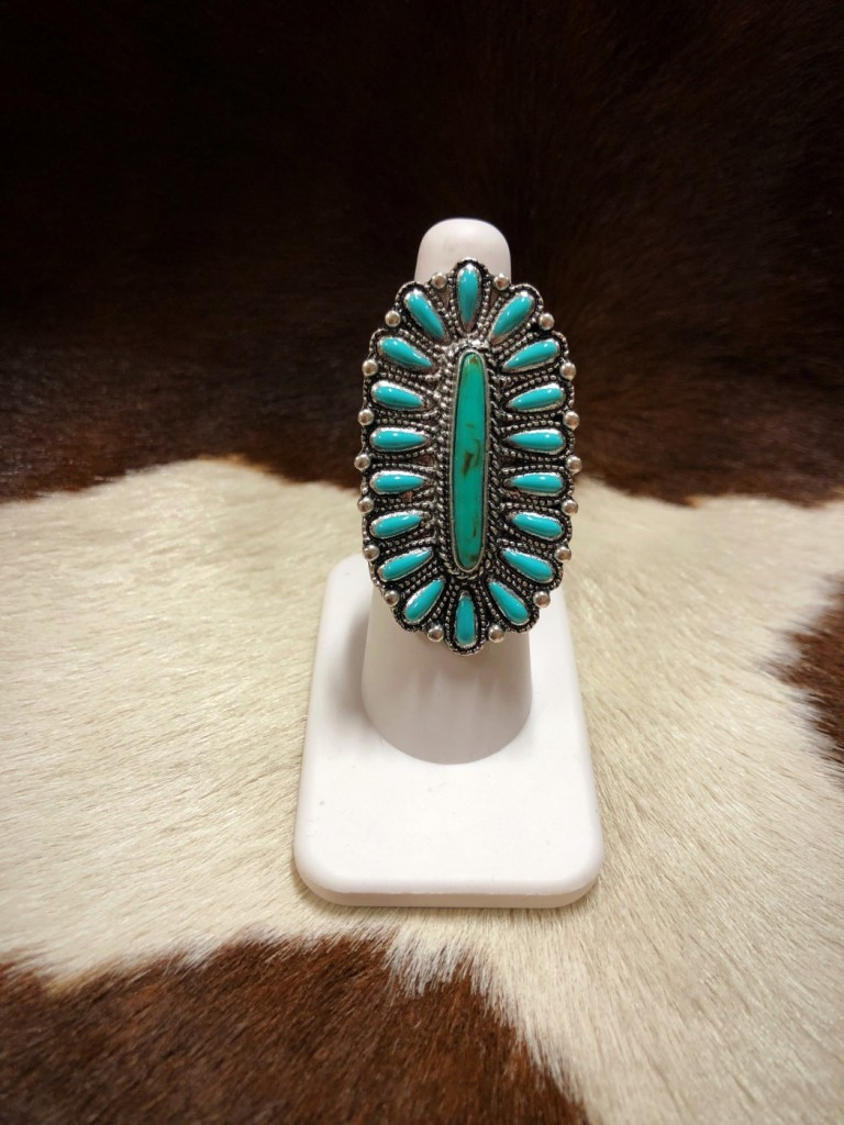 """"""" Katie """" Western Style Ring ( Turquoise )"""
