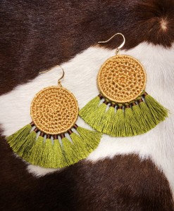 """ Alba "" Straw Tassel Earrings"