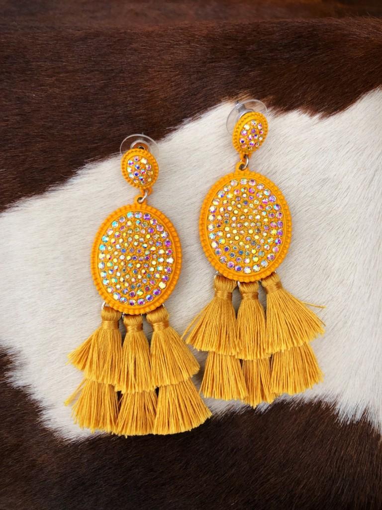 """"""" Lucy """" Crystal & Tassel Fashion Earrings ( Mustard )"""