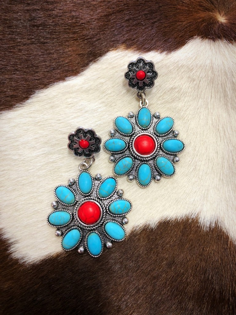 western fashion turquoise earrings