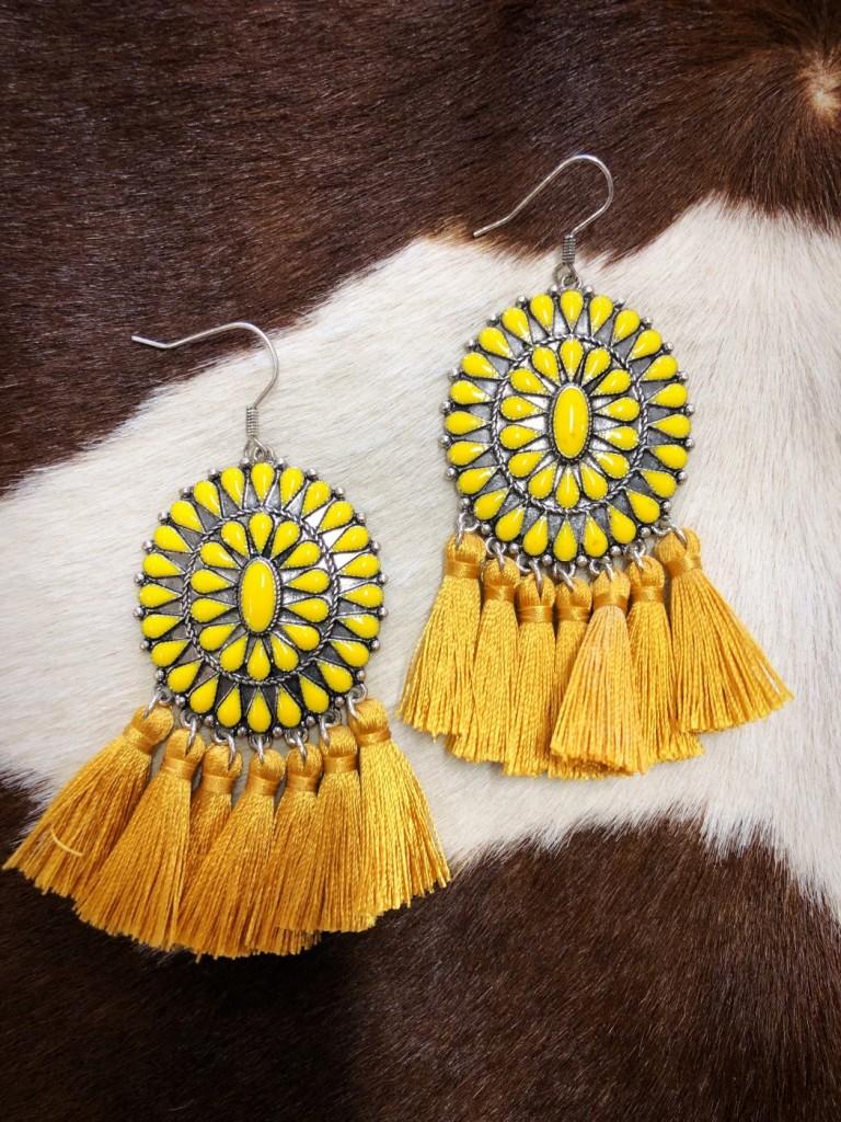 Western Epoxy Concho Earrings ( Yellow )