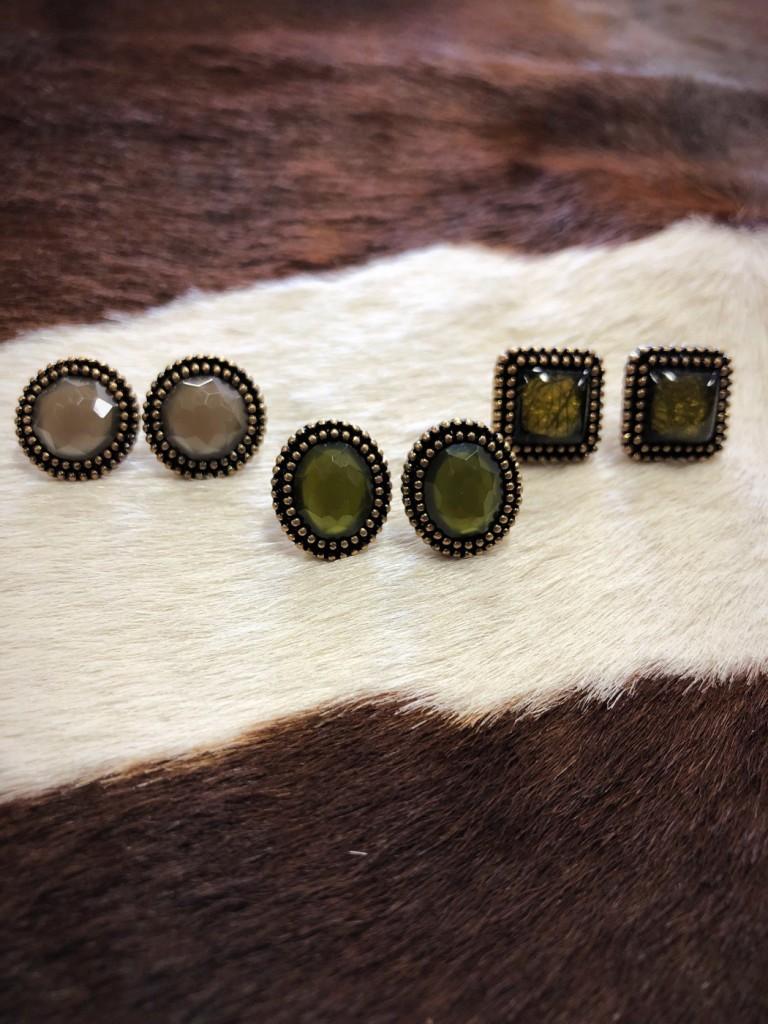""" Pamela "" Stud Earring Set ( Olive )"