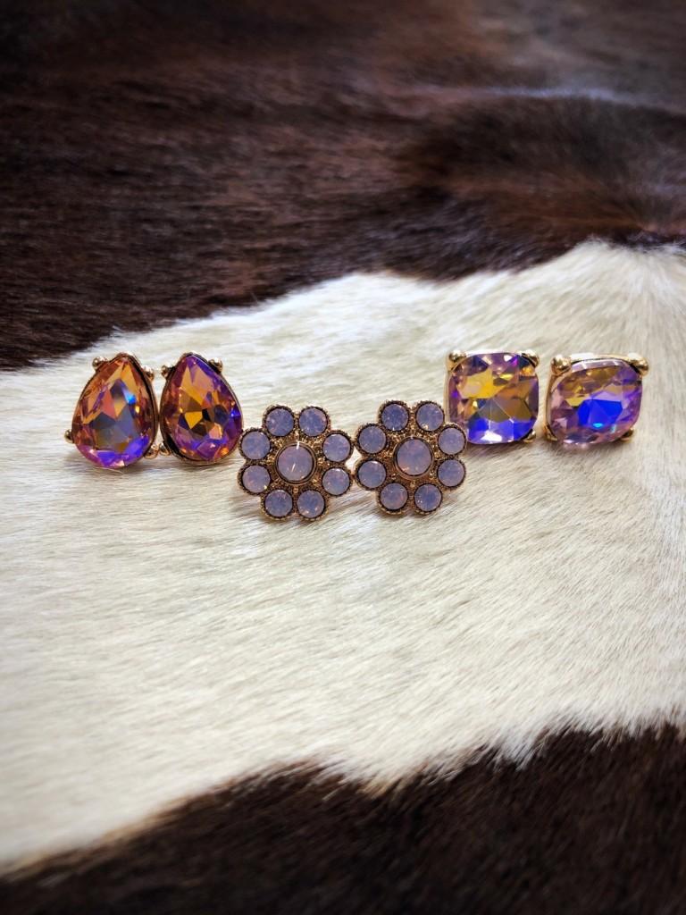""" Pink Crystal "" Stud Earring Set ( Pink )"
