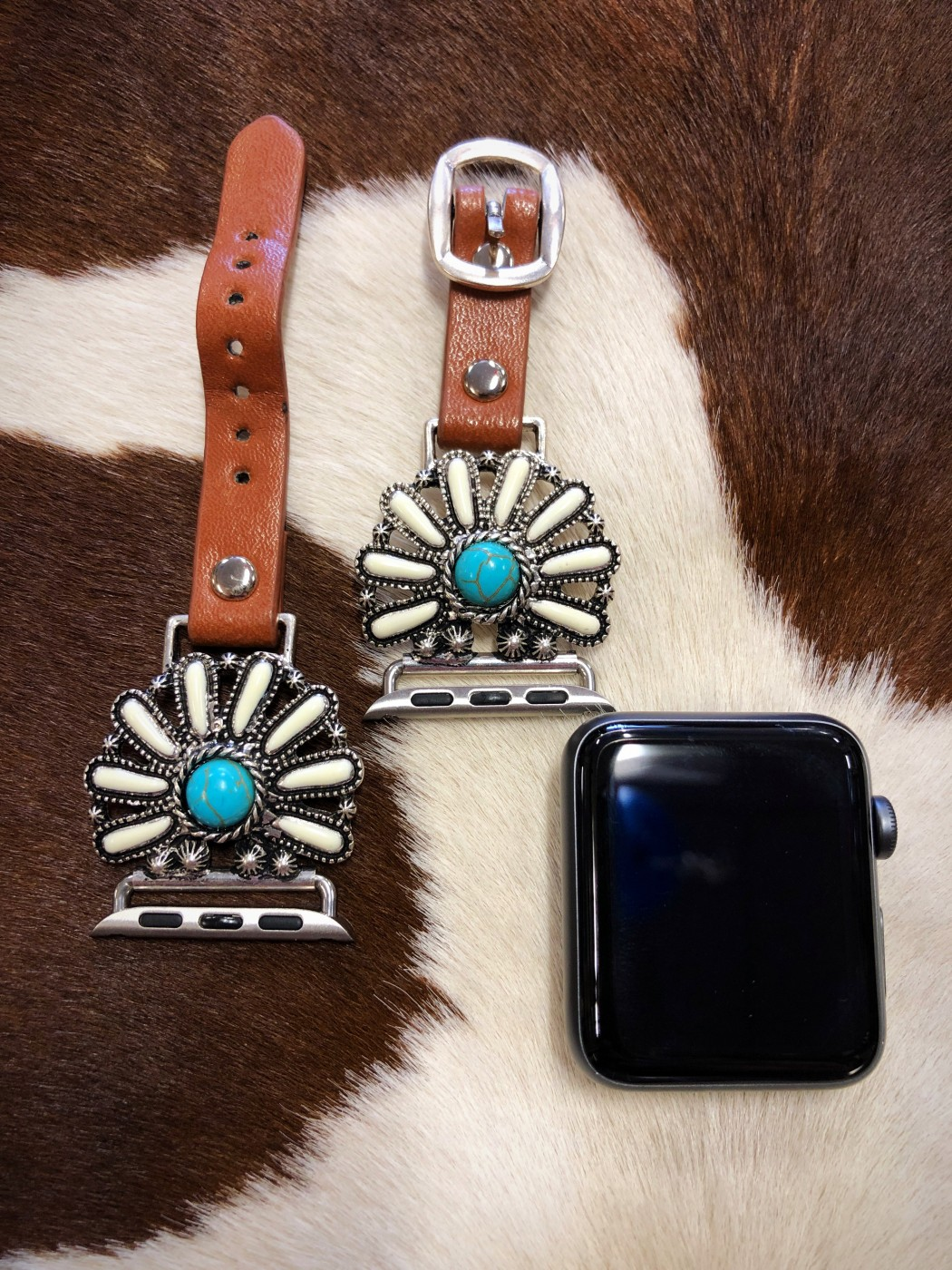 Highway Flower Concho Watch Band Turquoise White