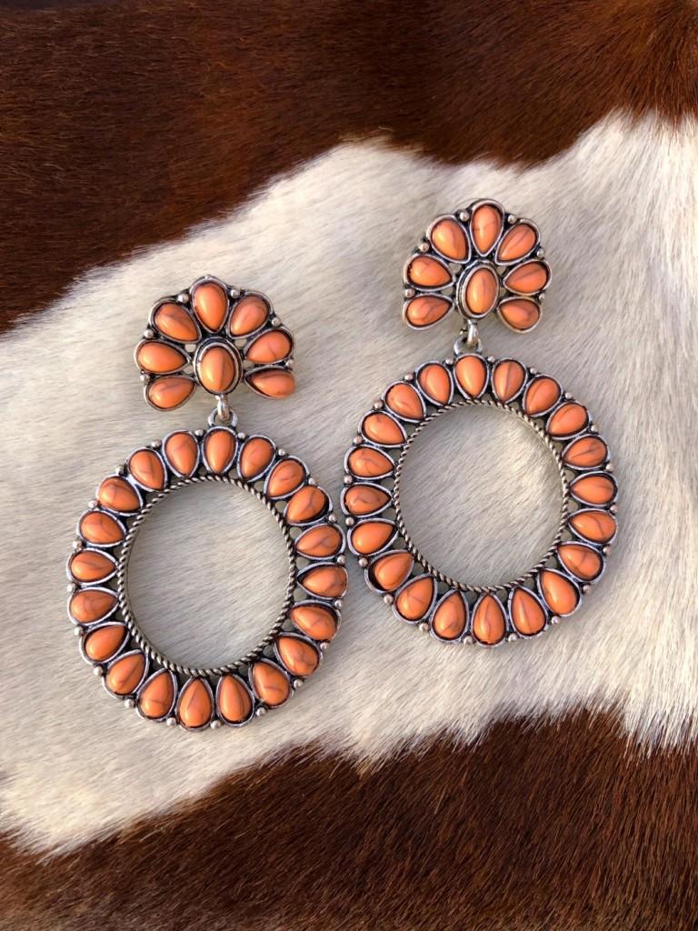 """"""" Jenny """" Round & Flower Western Earrings ( Melon )"""