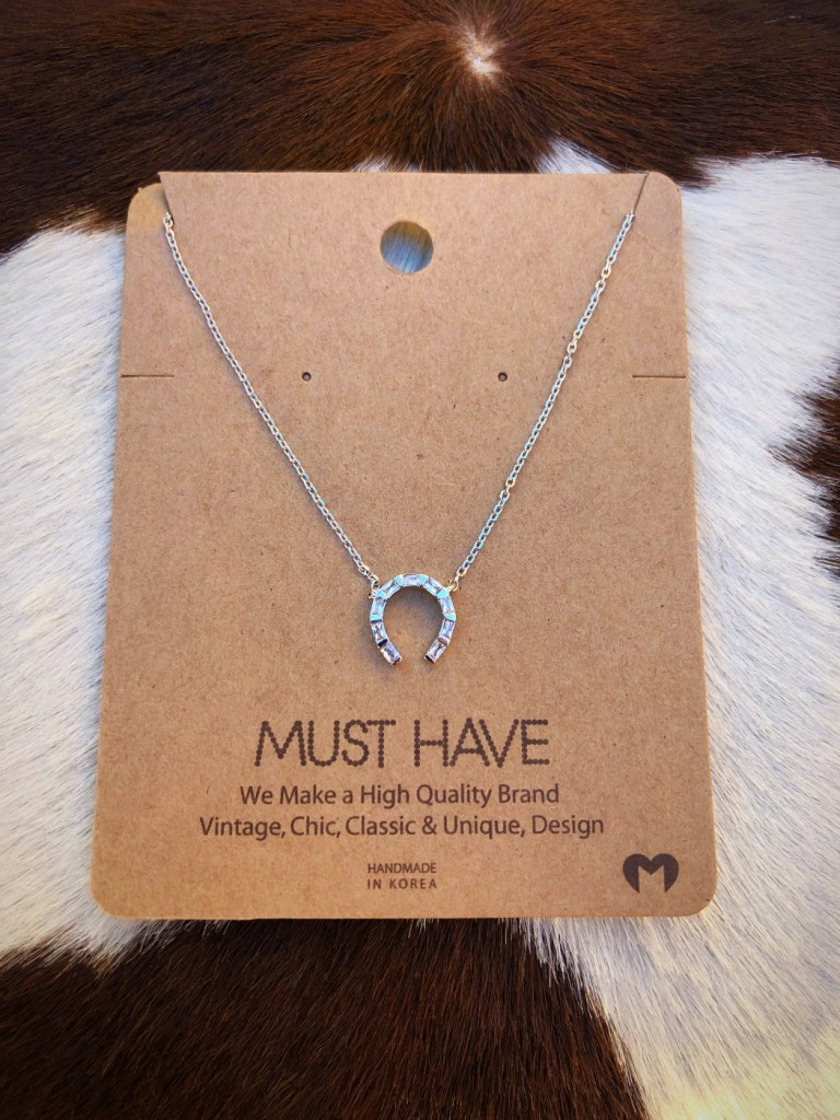 """ Lucky You "" Must Have Horseshoe Necklace ( Silver )"