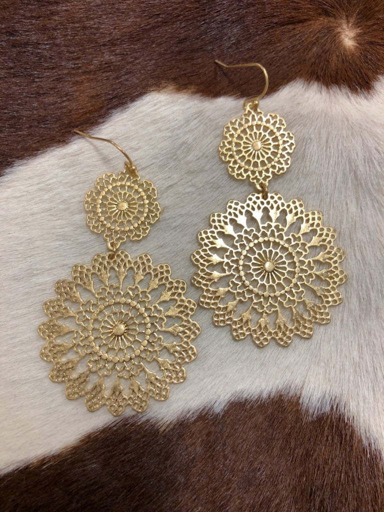 """ Mexicana "" Cut Out Detail Earrings ( Gold )"