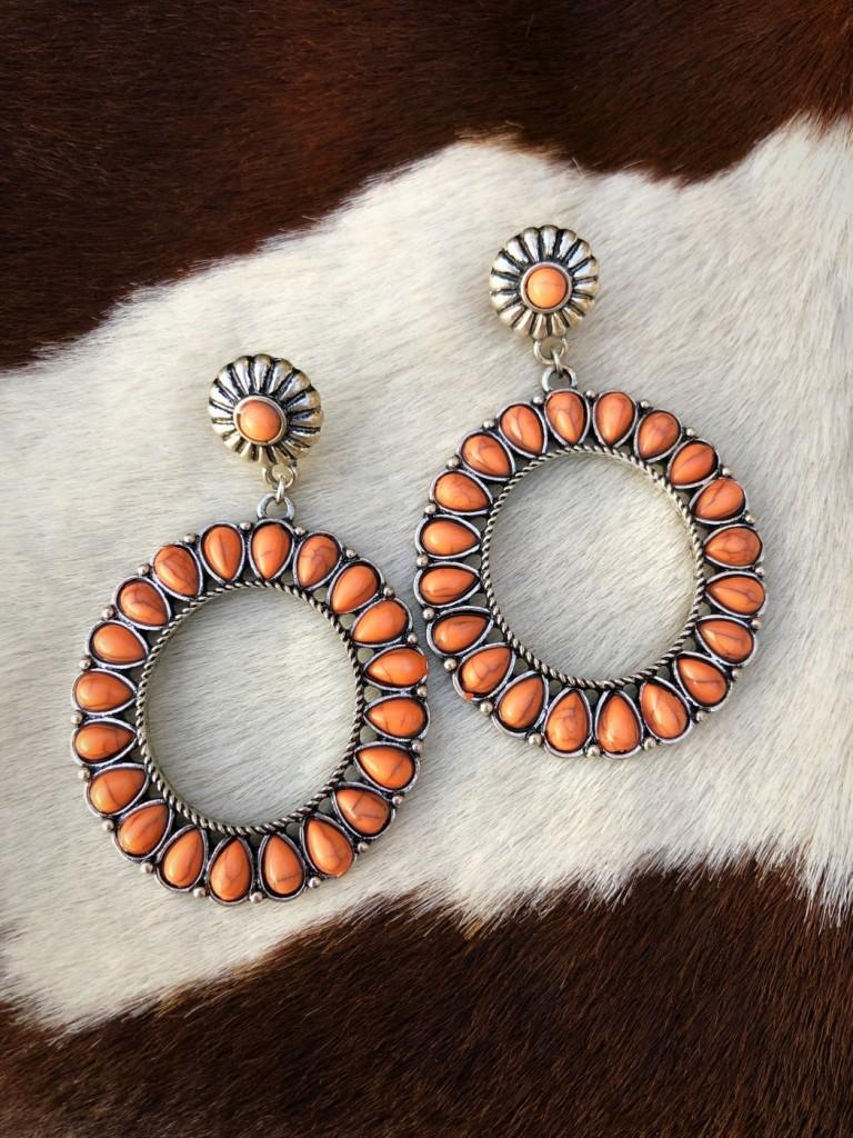 """ Janely "" Round Western Earrings ( Melon )"