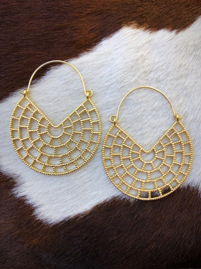 """"""" Lima """" Cut Out Fashion Earrings (  Gold )"""