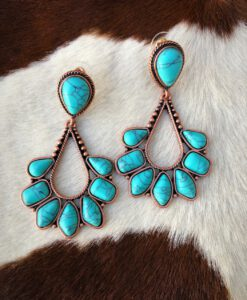""" Rosemary "" Western Style Earrings ( Turquoise / Copper )"