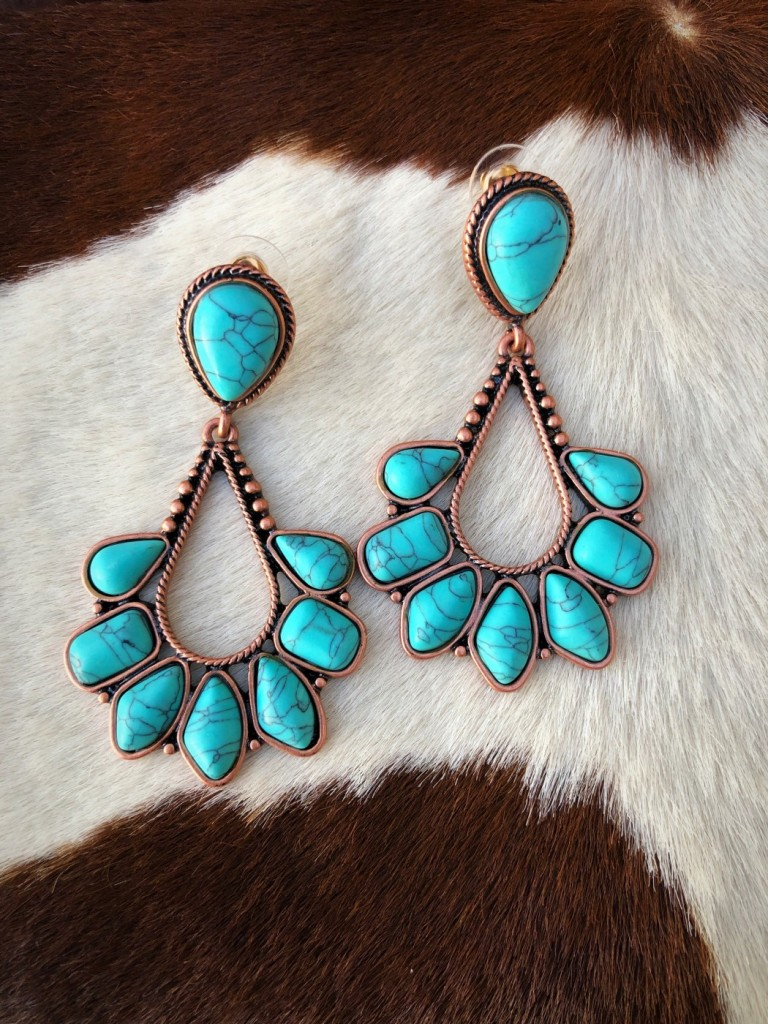 """"""" Rosemary """" Western Style Earrings ( Turquoise / Copper )"""