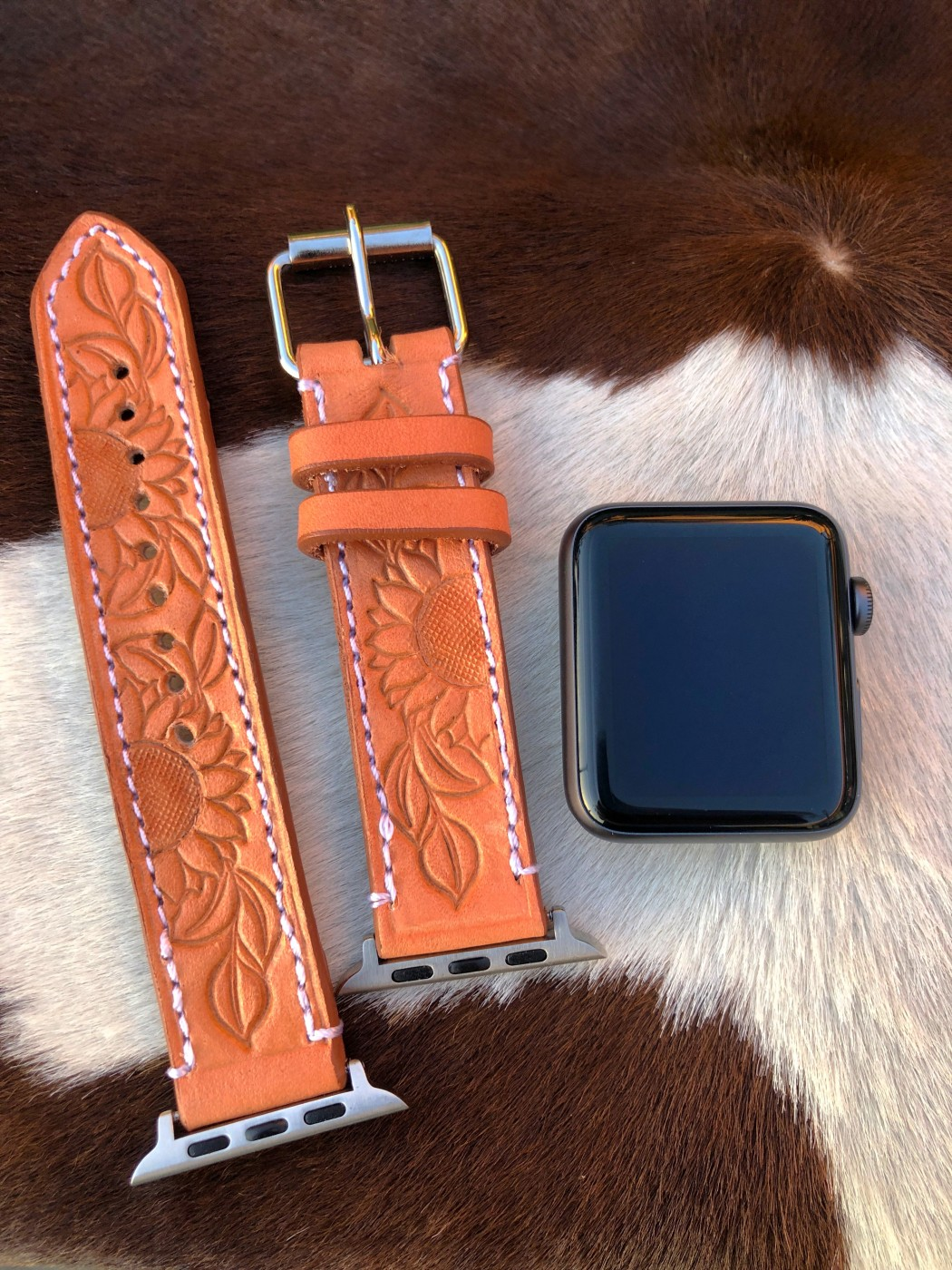 Sunflower Tooled Leather Apple Watch Band Natural
