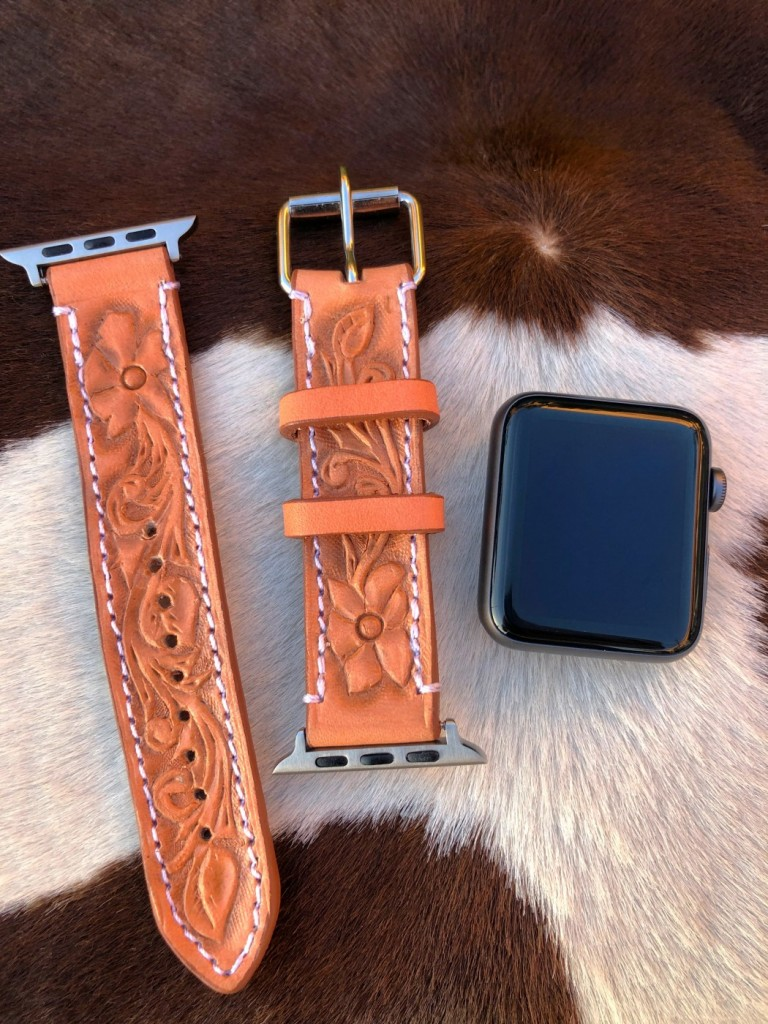leather tooled apple watch band western