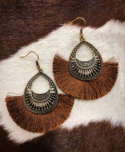 """"""" Stacy """" Fashion Tassel Earrings ( Brown )"""