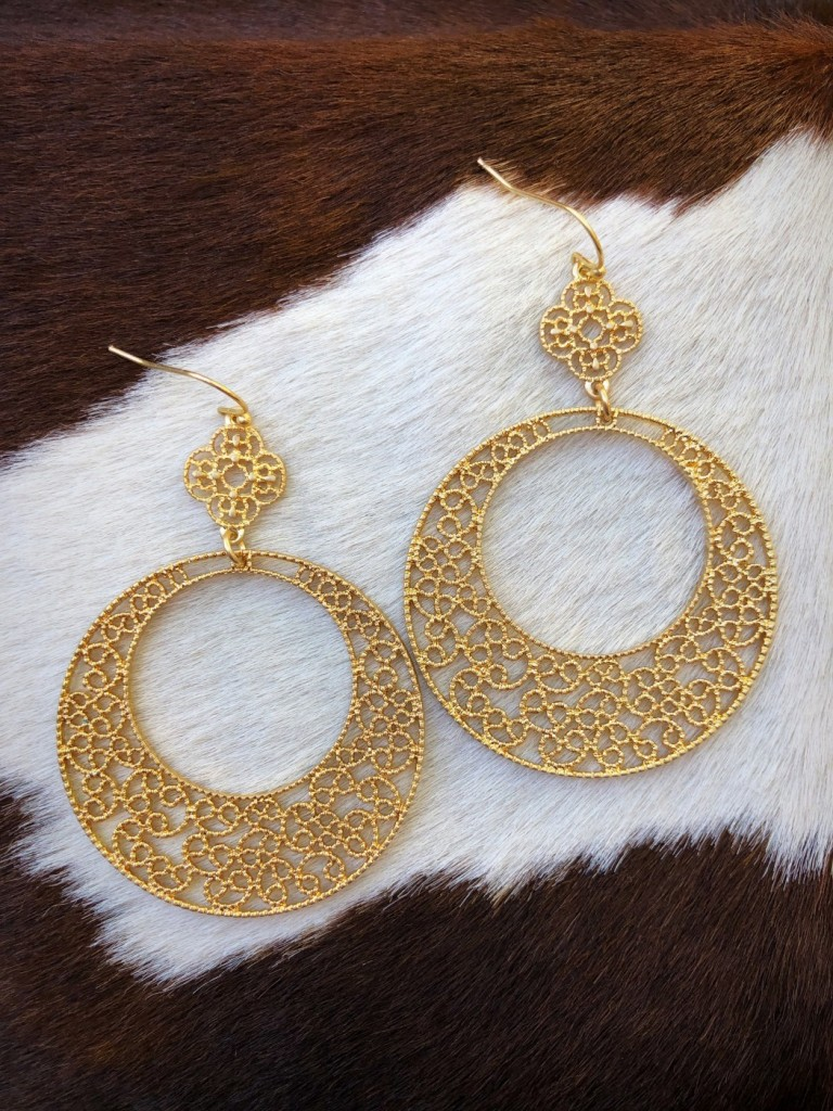 """ Camila "" Cut Out Detail Earrings ( Gold )"