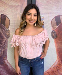 """"""" Fiesta Mexicana """" Off Shoulder Plain Top ( Pink )"""