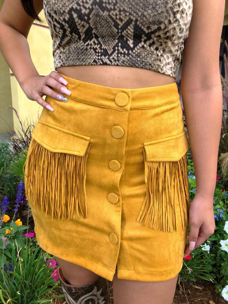 """"""" Fringe Please """" Faux Suede Mini Skirt ( Mustard )"""