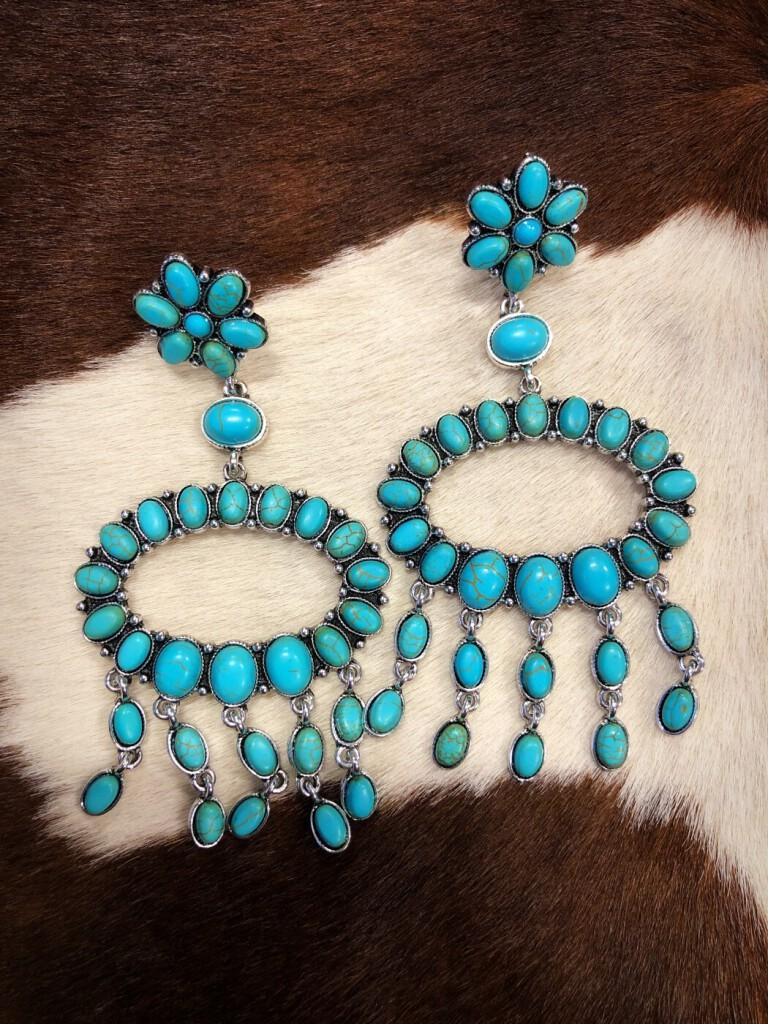 """"""" Kaylee """" Western Style Earrings ( Turquoise )"""