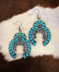 """"""" Jazmine """" Floral Squash Blossom Earrings ( Turquoise )"""