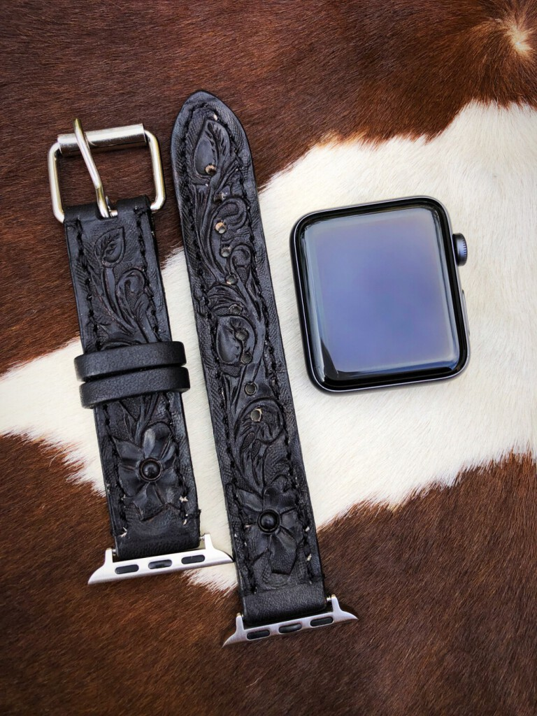 apple leather tooled watch band