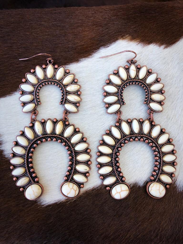 Double Horseshoe Style Earrings ( White )