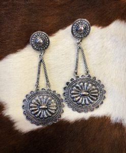 Western Rope & Concho Drop Earrings ( Silver )