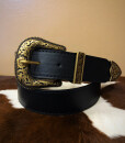 """"""" Leslie """" Western Style Belt ( Black / Antique Gold )"""