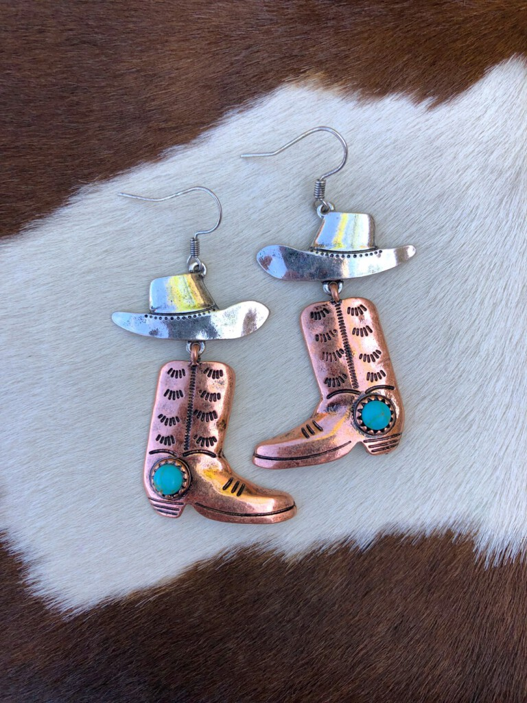 """"""" Rodeo Vibes """" Western Hat & Cowboy Boots Earrings ( Two Tone )"""