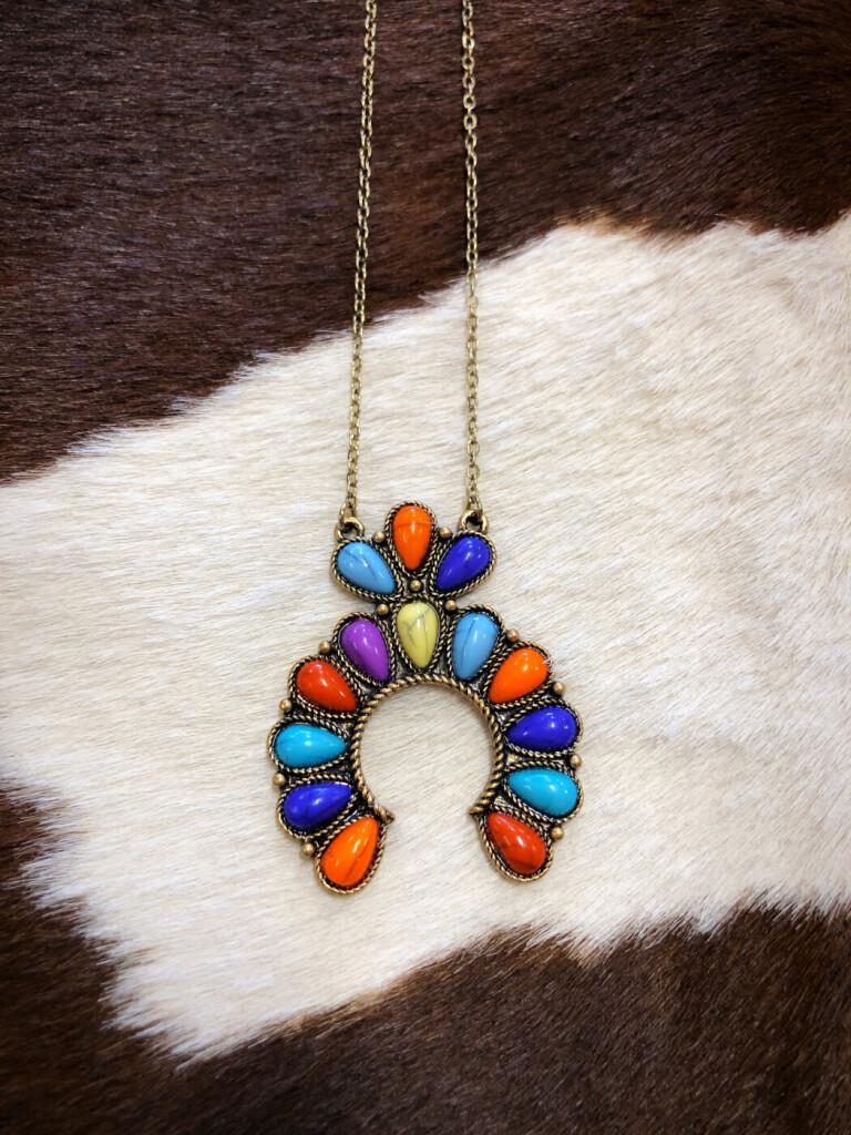 Small Squash Blossom Pendant Necklace ( Multi Color )