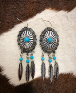 Dream Catcher Western Concho Earrings ( Turquoise )
