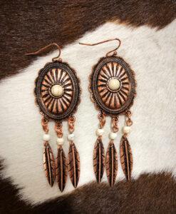 western dream catcher concho earrings
