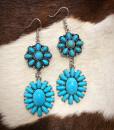 """"""" Marisol """" Double Turquoise Flower Earrings"""