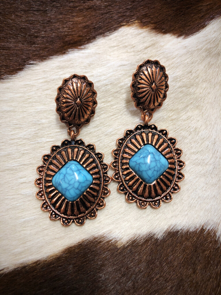 """ Bianca "" Western Concho Earrings ( Copper / Turquoise )"
