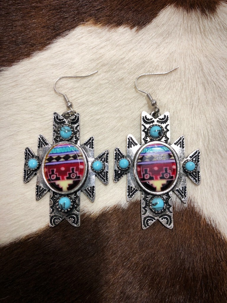 Western Tribal Design Earrings ( Silver )
