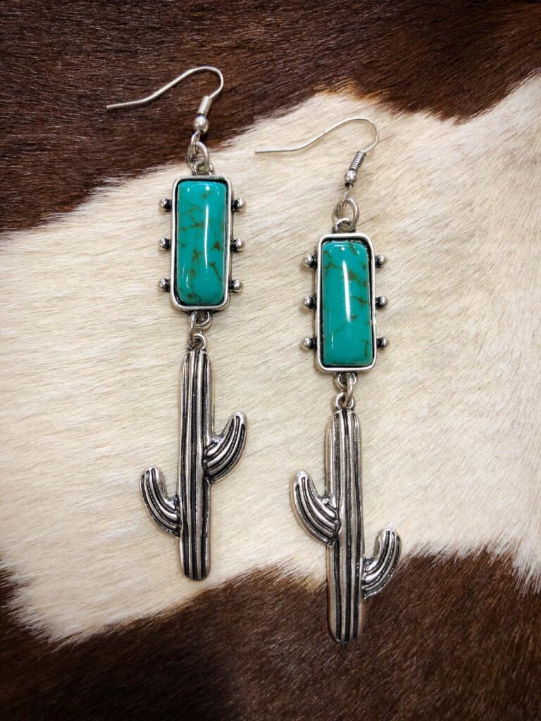 Cactus Drop Western Earrings ( Turquoise )
