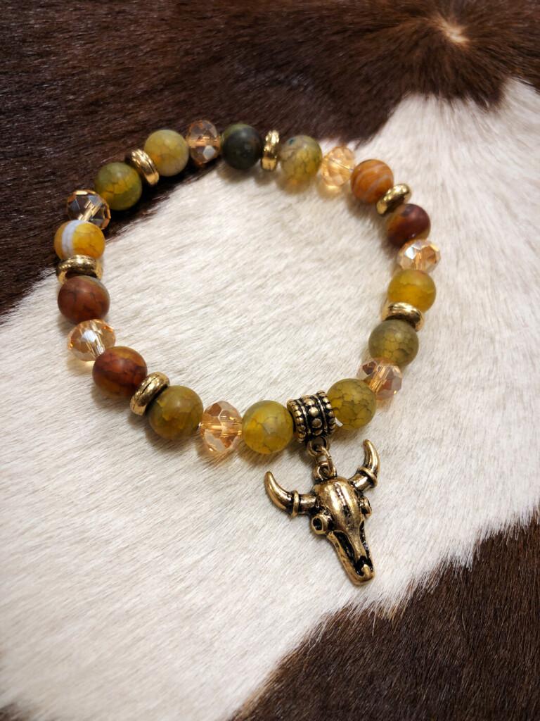 bull skull charm bracelet
