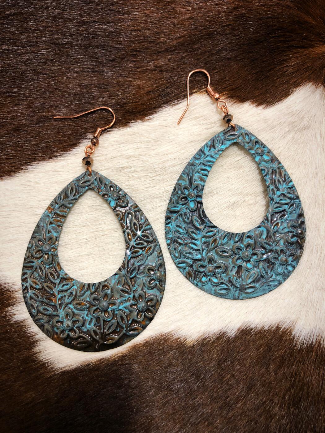 """"""" Rosalinda """" Floral Embossed Teardrop Earrings ( Antique Turquoise )"""