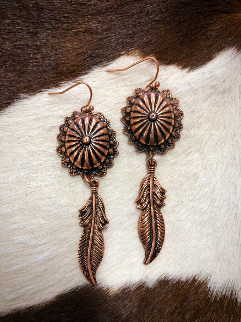 """ Alexis "" Dream Catcher Concho Earrings ( Copper )"