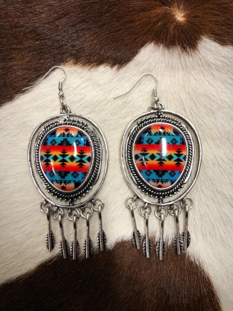 """"""" Tribal Lover """" Western Print Earrings ( Multi )"""