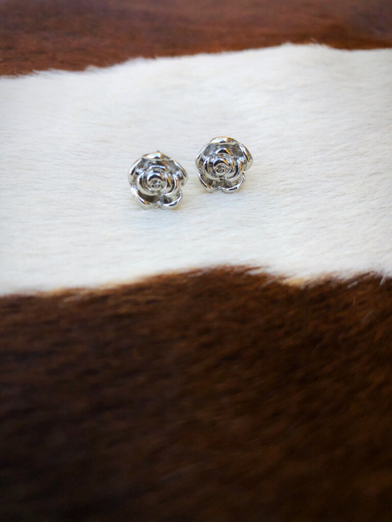 Mini Rose Post Earrings ( Silver )