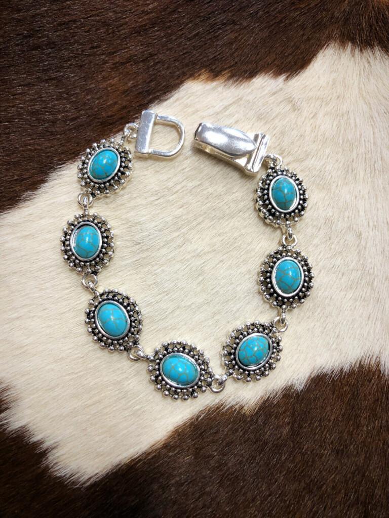 """ Vanessa "" Western Magnetic Bracelet ( Turquoise )"