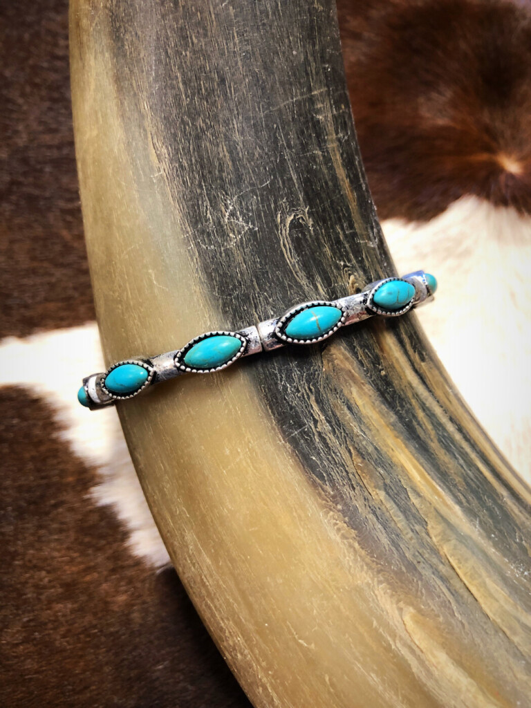 """ Letty "" Western Style Stretch Bracelet ( Turquoise )"