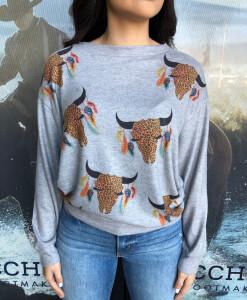 bull skull sweater