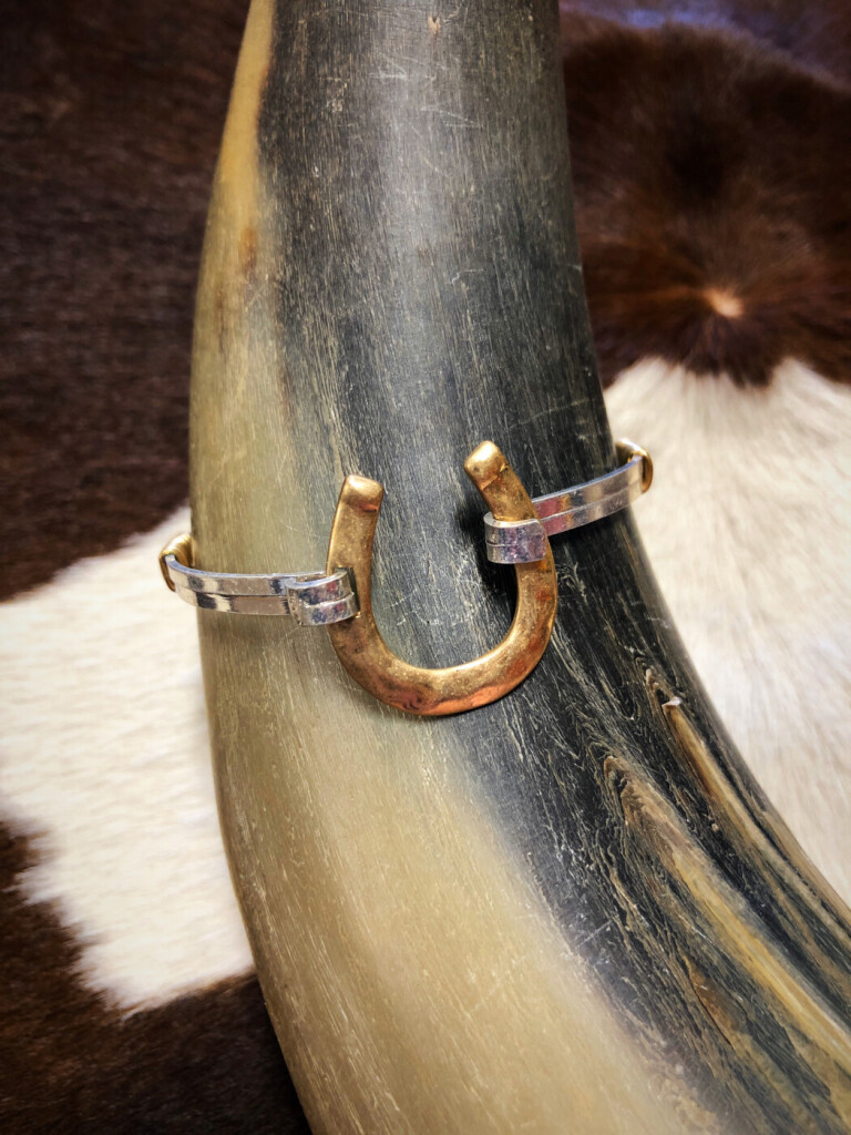 Hammered Horseshoe Bangle ( Matte Gold )