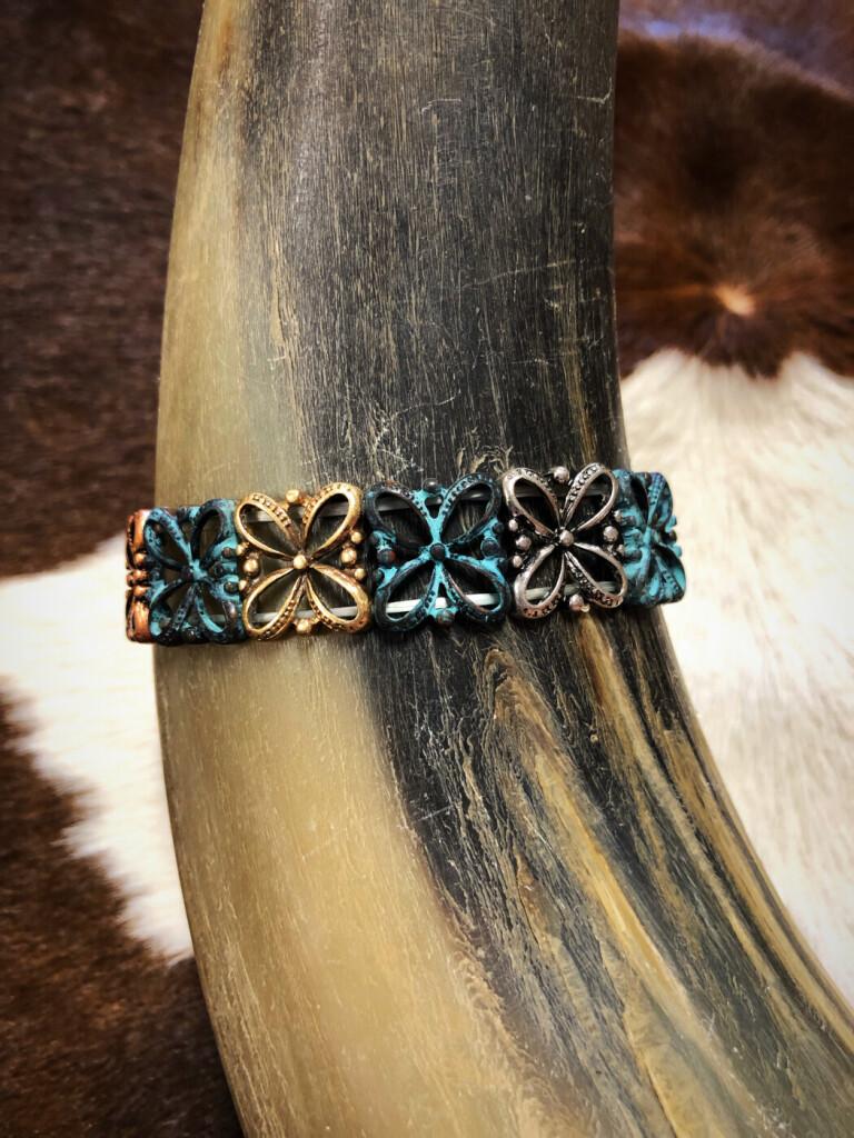 Fashion Floral Design Bracelet ( Patina :