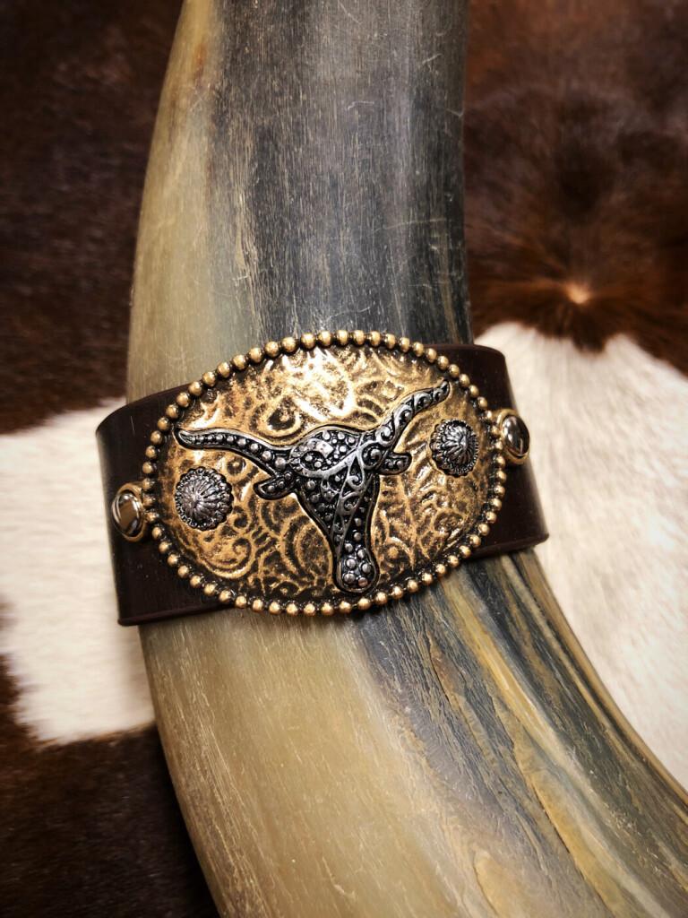 Western Embossed Bull Head Faux Leather Bracelet ( Brown )