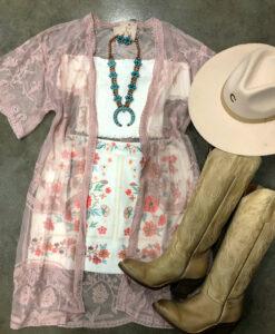 sheer lace kimono