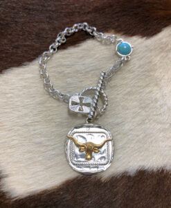 Western Hammered Longhorn Charm Bracelet ( Matte Silver )